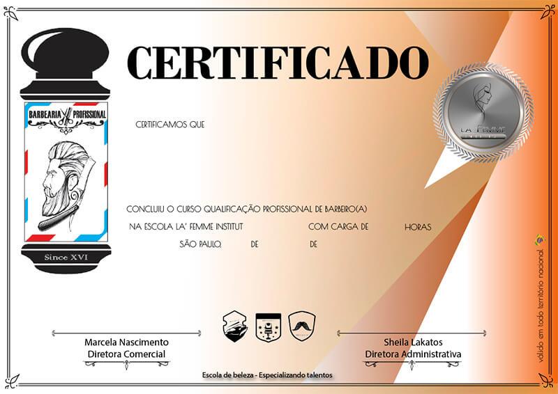 Certificado Barbeiro